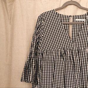 ZARA checkered babydoll dress